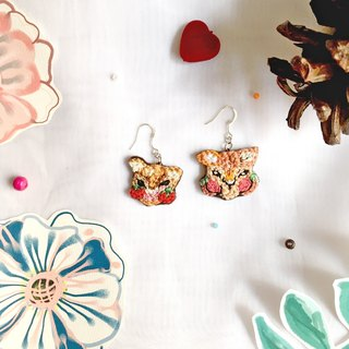 Little animal with secret fruit embroidery earrings