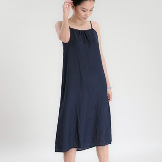BUFU  ramie tank dress in navy D170204