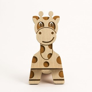 Wooden Formula (Customized - Color Patterns can be replaced) Wooden Mobile Phone Holder - Giraffe Phone Holder / Ornament / Business Card Holder / Gift / Premium / Mobile Phone Accessories / Stationery