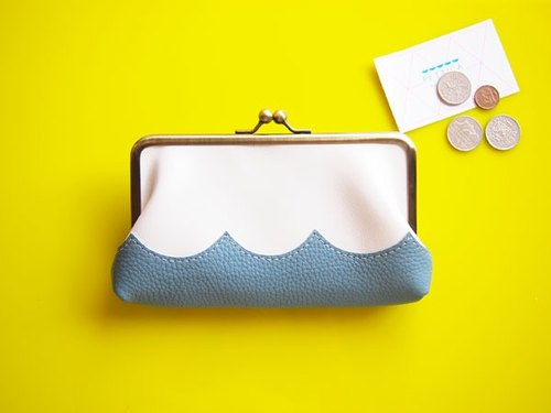 wave Long Wallet / Hamaguchi Long Purse White × Smokey Blue / long wallet white, blue