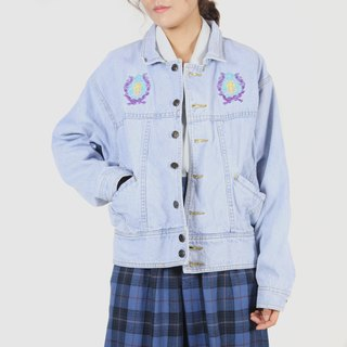 [Egg Plant Vintage] Emblem Embroidery Light Color Vintage Denim Jacket