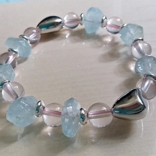 Love freedom - ice hibiscus crystal + aquamarine amorphous silver bracelet bracelet (only one) Hong Kong original design
