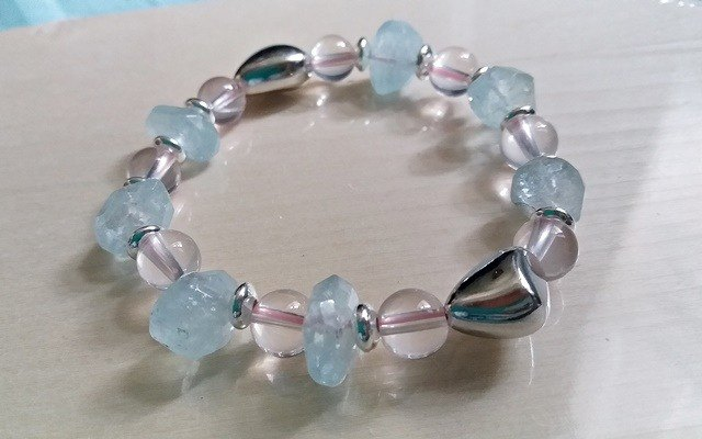 Freedom of Love - Ice Hibiscus Crystal + Aquamarine Unshaped sterling silver bracelet bracelet