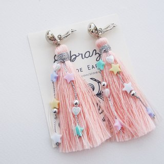 Peach long tassel with pastel beads earrings