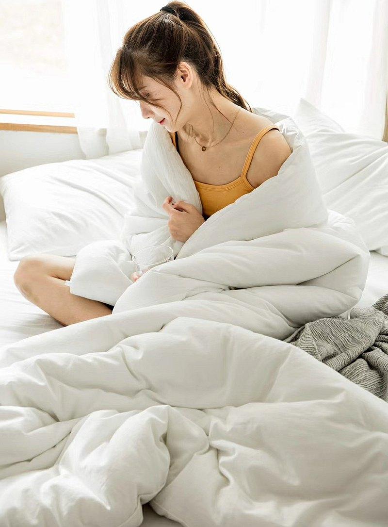 純白  水洗棉 標準雙人四件組床包(台灣尺寸)
