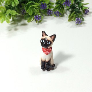 Siamese cat with red scarf brooch, Siamese cat pin, cat lover gifts