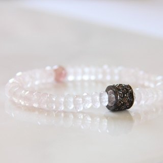 Fashion Energy Jewelry Collection - Pink Crystal Wheel Cobblestone Bracelet / Rose Quartz faceted