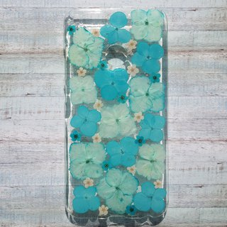 Pressed flowers phone case, MI A1, Blue Hydrangea