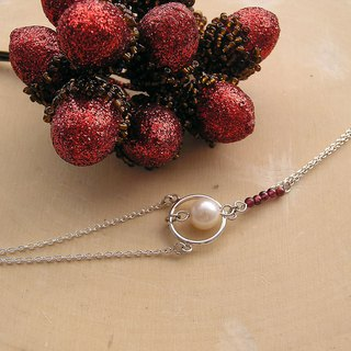 925 sterling silver with freshwater pearl and garnet bracelet designed and handmade