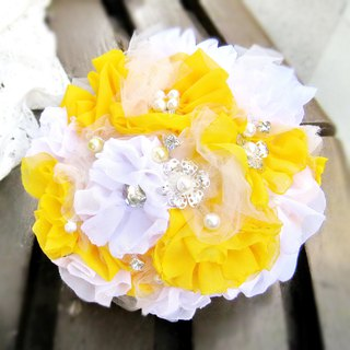 Wedding fabric flower bouquet, bridal bouquet, briidesmaid bouquet B002