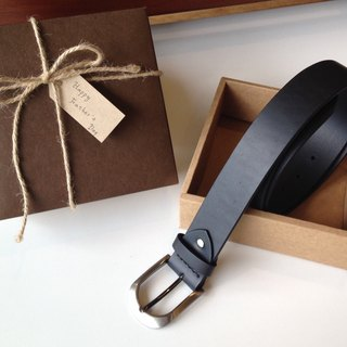 Customized Gentleman Belt Gift Box Classic Black (Italian Vegetable Tanned Leather, Handmade Limited)