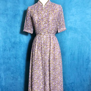 Flower double knot short-sleeved vintage dress / abroad to bring back VINTAGE