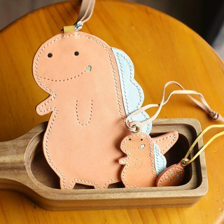 Dinosaur 1 plus 1 set (handmade leather card holder plus pendant)