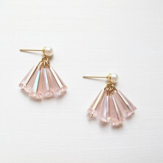 Rosy Garden Pink crystals dress-like shape earrings