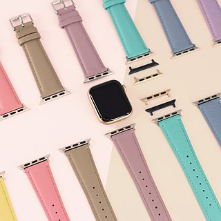 Multicolor Genuine Leather Goatskin Series Macaron Dream Grey Blue Apple Watch Apple Watch Strap