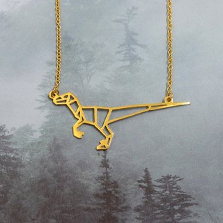 Velociraptor,Origami, Dinosaur Necklace, Gold Plated Necklace, Gift for her
