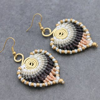 Macrame Earrings Woven Brass Spiral Pastel Leaf Drop Nature Bohemian