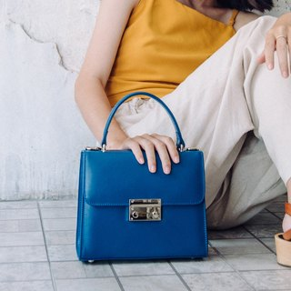 ITALIAN COW LEATHER WOMAN HAND BAG-BLUE