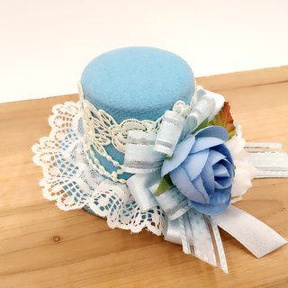 Blue lace hat shape. Hairpin