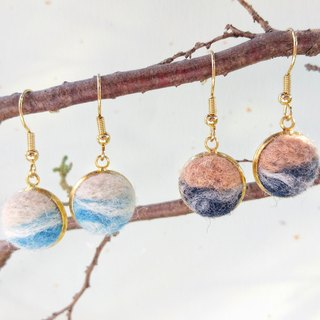 Wave hand made wool felt earrings can be changed ear clips