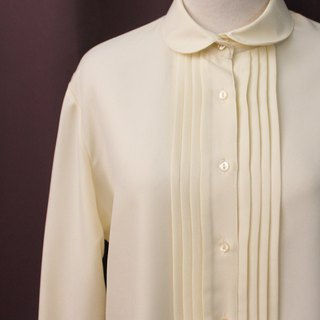 Vintage European Simple Plain Cute Beige Long Sleeve Vintage Shirt Vintage Blouse