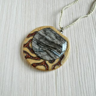 Wooden inlaid pendant with agate