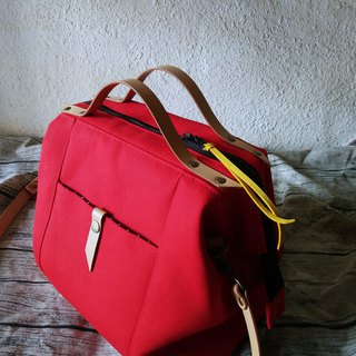 Enjoy the beautiful leather hand-held portable dual-purpose bag - dazzling red
