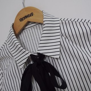 Chicken Mother Dock - Cotton Large Black Tie Striped Shirt Dress