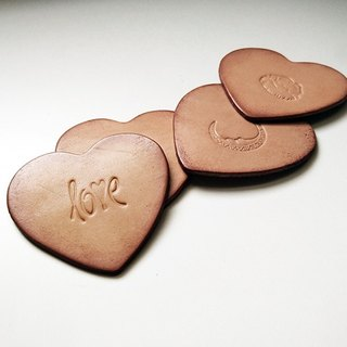 Heart-shaped leather coaster / kiss sun and moon series - 2 into combination offer (four pieces in total)
