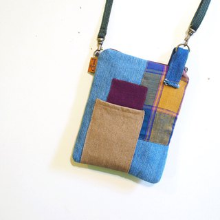 E*group square patchwork small bag light blue tannin color mobile phone bag passport package