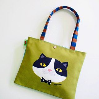 E * group new shoulder bags double-sided design (black and white meow Matcha coffee) canvas bag canvas bag cat frog