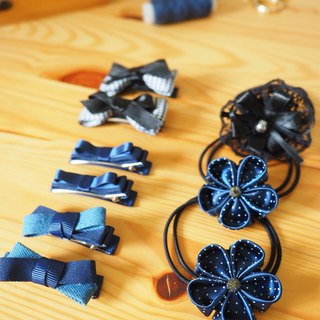 Handmade Ribbob hair accessory gift set (clip/ band/ corsage)