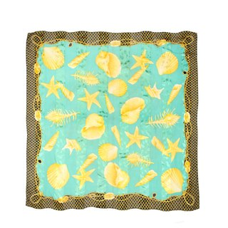 [Egg plant ancient] golden beach pure silk printing ancient scarves