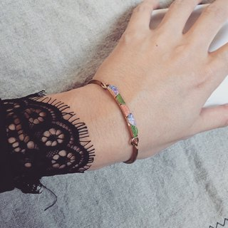 Ethnic - Folk style color semicircle leather stitching brass bracelet