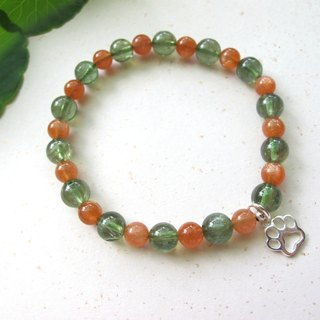 Orange with green sun stone x apatite x 925 silver - hand-made natural stone series
