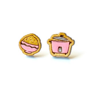 Painted wood earrings-Rice Cooker(pink)