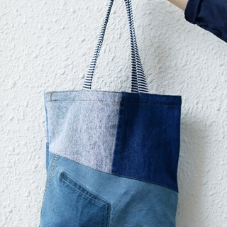 Denim patchwork big tote bag