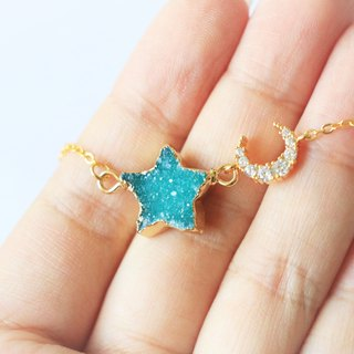 Druzy agate moon and star necklace - natural crystal necklace 18k gold plated