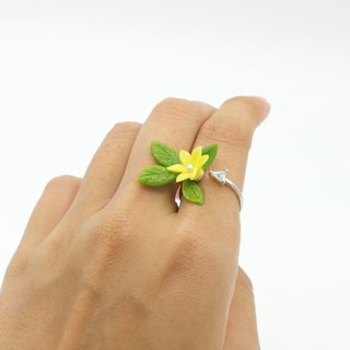 Pamycarie Summer Twig Clay Yellow Flower Crystal Ring