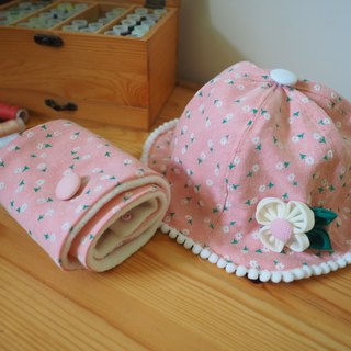 Handmade Floral baby/ kid scarf, hat and hair clip gift set