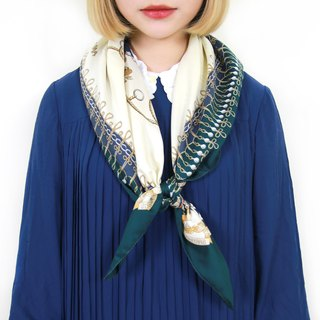 Back to Green :: classical nobility scarf dark green badge vintage scarf (SC-09)