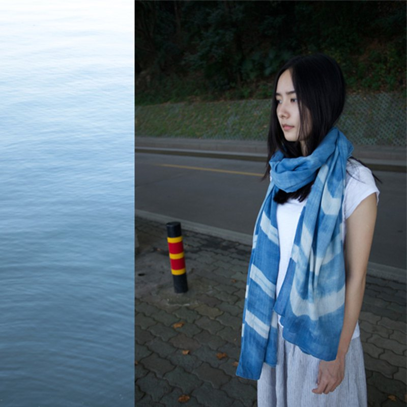 Handmade blue dyed multi-purpose striped cotton scarf