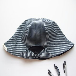 Ponytail Girls - Handmade Hat | Double sided (Black x Stripe)
