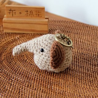 Amigurumi crochet doll: baby elephant key ring, brown, yellow
