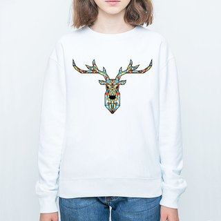 Deer Geometric color unisex white sweatshirt