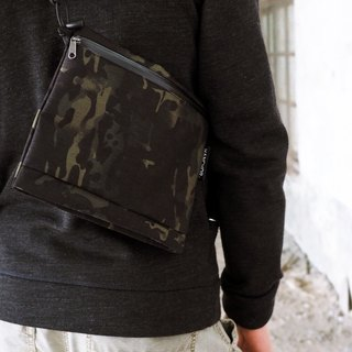 SURFACE lightweight chest / messenger bag - black camouflage special section X50