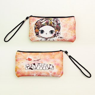 Waterproof mobile phone bag / Clutch / Outgoing bag / purse [Warm cat series] # Changeable neck long rope
