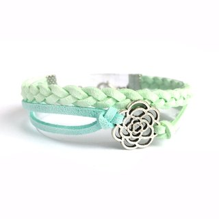 Handmade Double Braided Rose Bracelet–light green limited