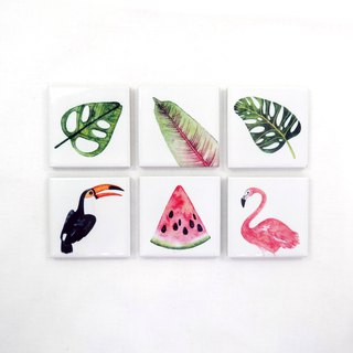 Summer Botanic Refrigerator Magnet Holder (Set of 6)