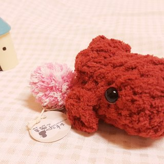 [Leaf cat child. Handmade pet dog's head Edition] q key ring - red VIP (single)